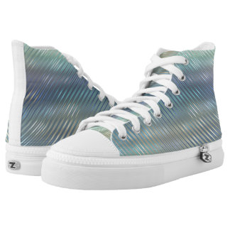 Modern Metallic Abstract Shiny Stripes High Tops