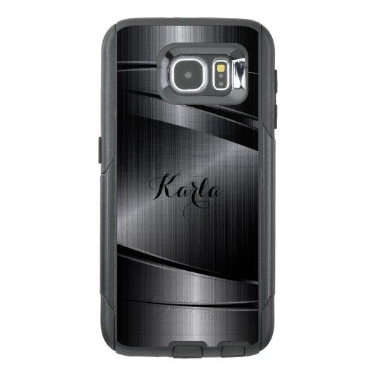 Modern Metallic Black Geometric Design OtterBox Samsung Galaxy
