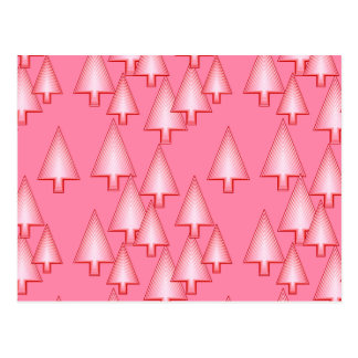 Modern metallic Christmas trees - coral pink Post Cards