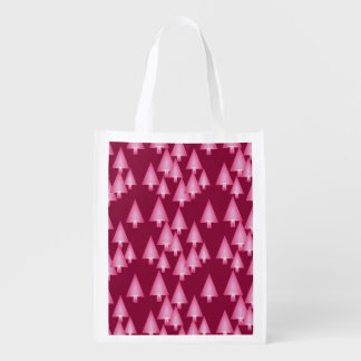 Modern metallic Christmas trees - pink & wine Reusable Grocery Bag