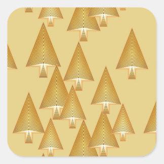 Modern metallic Christmas trees - yellow gold Square Sticker