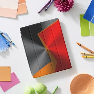 Modern Metallic Geometric Black Red & Orange iPad Cover