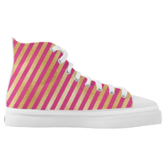 Modern Metallic Golden Pink Stripes Printed Shoes