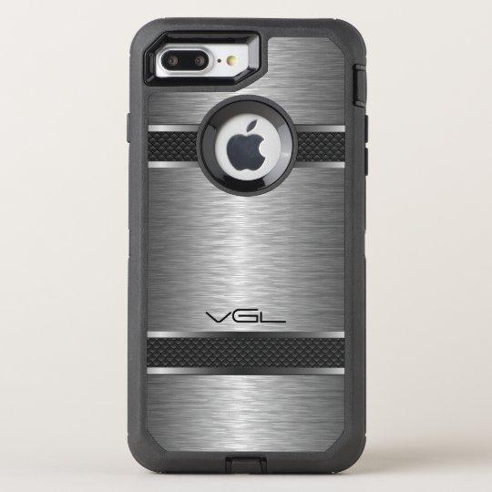 Modern Metallic Grey Texture & Stripes Accent OtterBox Defender iPhone 8 Plus/7 Plus Case
