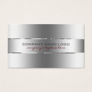 Modern Metallic Silver Design Stainless Steel Look Business Card