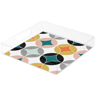 Modern Mid Century Retro  Style Repeat Patterned Acrylic Tray