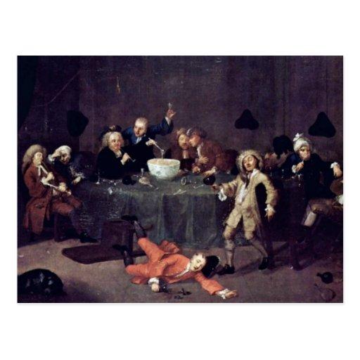 Modern Midnight Conversation By Hogarth William Postcard