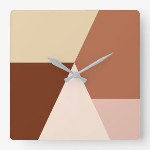 Modern minimal abstract geometric cappuccino square wall clock