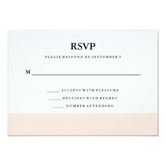 Modern Minimal Blush Pink Stripe RSVP Card