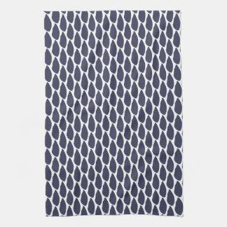 Modern Minimal Drops Blue Pattern Tea Towel