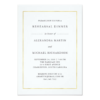 Modern Minimal | Faux Gold Border Rehearsal Dinner Card