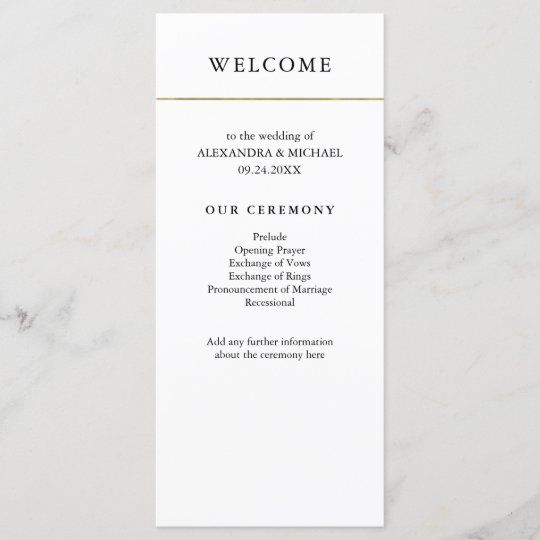 modern minimal faux gold border wedding program programme zazzle