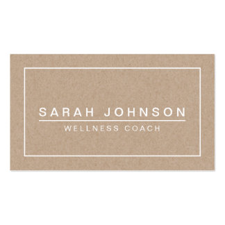 MODERN & MINIMAL ON BEIGE KRAFT PAPER EFFECT Double-Sided STANDARD BUSINESS CARDS (Pack OF 100)