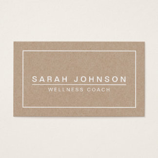 MODERN & MINIMAL ON BEIGE KRAFT PAPER EFFECT BUSINESS CARD