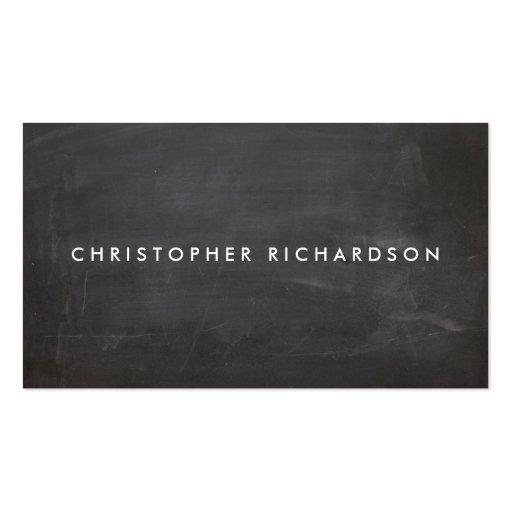 MODERN & MINIMAL on BLACK CHALKBOARD Business Card Templates