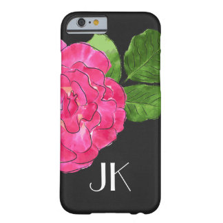 MODERN MINIMAL PINK FLORAL DARK LEATHER MONOGRAM BARELY THERE iPhone 6 CASE