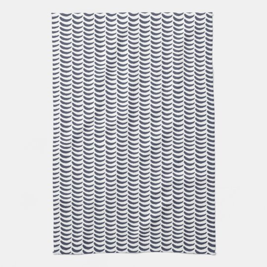 Modern Minimal Waves Blue Pattern Tea Towel