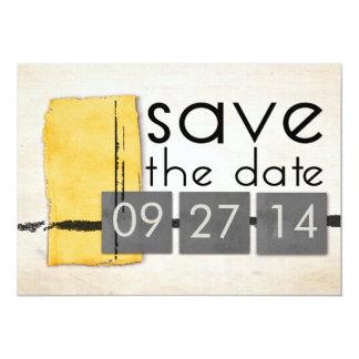 Modern Minimalism Yellow  Gray Save the Date 13 Cm X 18 Cm Invitation Card