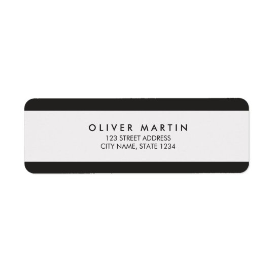 Modern Minimalist Black and Grey Address Labels