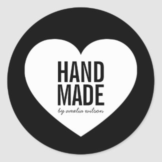 Modern Minimalist Black and White Handmade Heart Classic Round Sticker