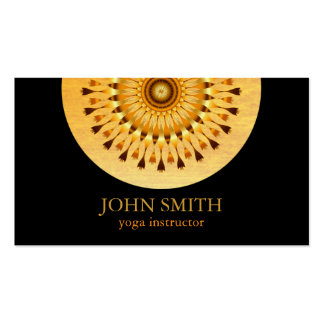 Modern Minimalist Black Gold Lotus Yoga Instructor Pack Of Standard Business Cards