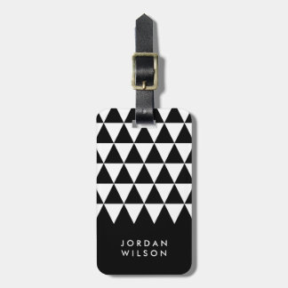 Modern Minimalist Black White Triangle Luggage Tag