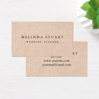 Modern Minimalist Chic Burlap Background Business Card