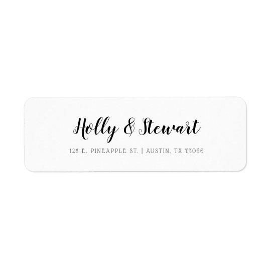 Modern Minimalist Chic Couple Names Return Address