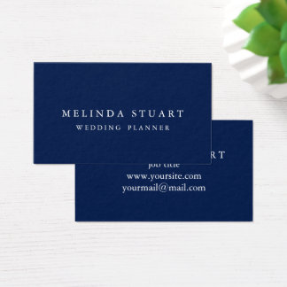 Modern Minimalist Chic Navy Blue Business Card