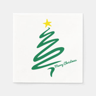 Modern & Minimalist Christmas Tree Swoosh Disposable Serviette