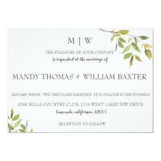 Modern Minimalist Greenery Wedding Invitation