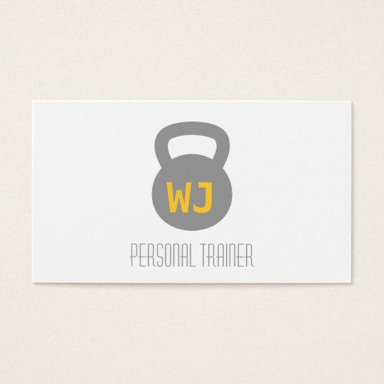 Modern Minimalist Kettlebell Personal Trainer Business Card