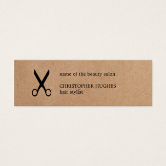 Modern Minimalist Kraft Paper Black Hair Stylist Mini Business Card