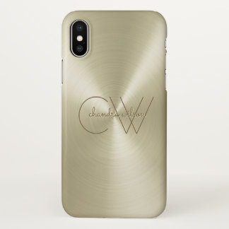 Modern Minimalist Ladies Monogram Etched Platinum iPhone X Case