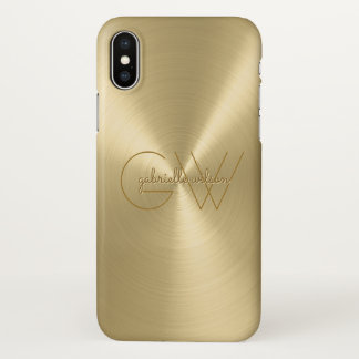 Modern Minimalist Ladies Monogram Luxury Gold iPhone X Case