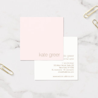 Modern Minimalist Light Pink Beauty Square Square Business Card