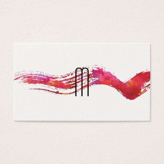 Modern Minimalist Monogram Watercolor brush Business Card