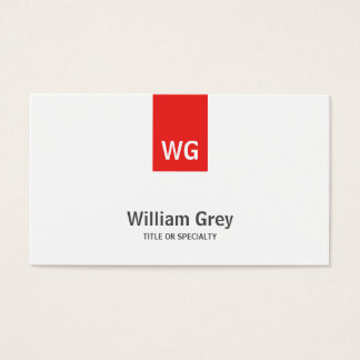 Modern Minimalist Monogram White Red Profile Card