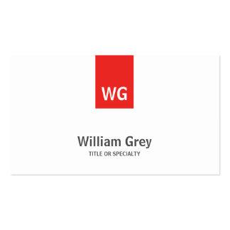 Modern Minimalist Monogram White Red Profile Card Business Cards