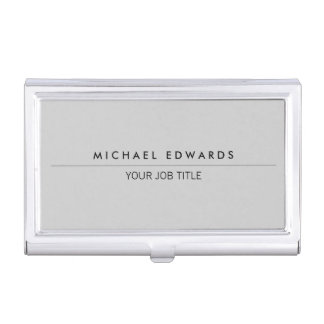 Modern minimalist simple professional light gray business card holder