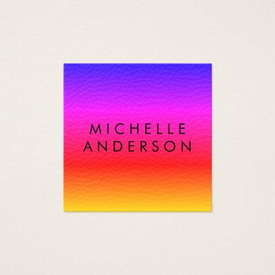 Modern Minimalist Vibrant Texture Square Business Card