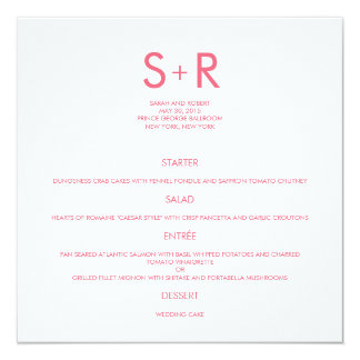 Modern Minimalist Wedding Menu Card 13 Cm X 13 Cm Square Invitation Card