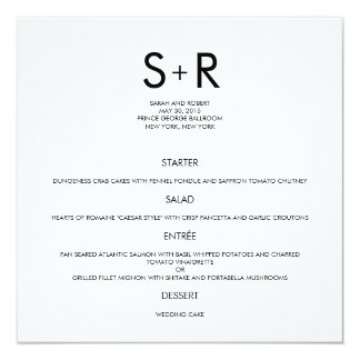 Modern Minimalist Wedding Menu Card 13 Cm X 13 Cm Square Invitation Card