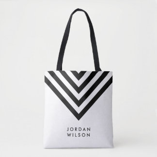 Modern Minimalist White & Black Chevron Geometric Tote Bag