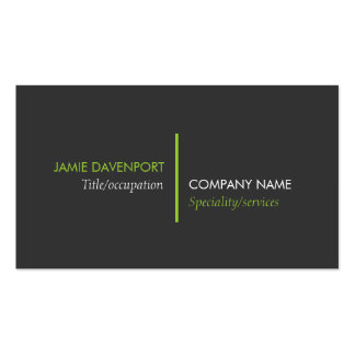 Modern Minimalistic Dark Grey Lime Green Business Card Template