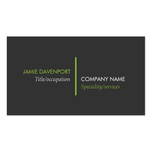 Modern Minimalistic Dark Grey Lime Green Business Card Template