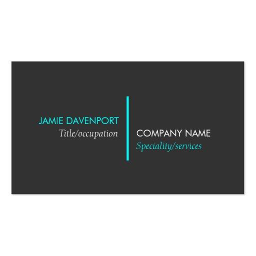 Modern Minimalistic Dark Grey Neon Blue Business Cards