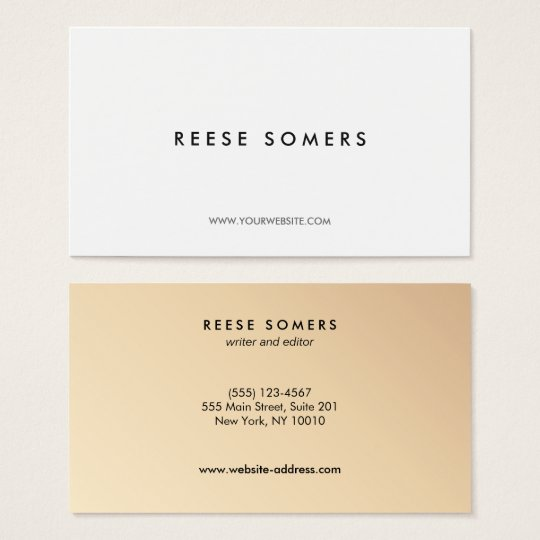 Modern Minimalistic White Gold Backside Business Card