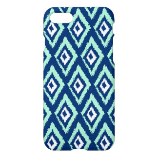 Modern Mint and Navy Blue Ikat Pattern iPhone 8/7 Case