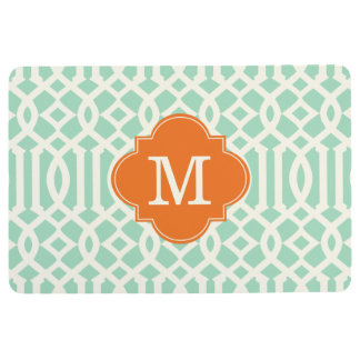 Modern Mint and Orange Trellis Custom Monogram Floor Mat